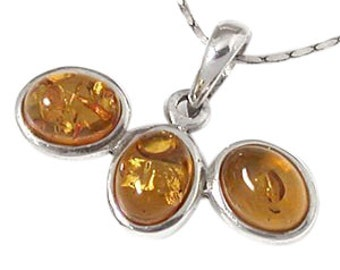 Amber Pendant, Genuine Honey Baltic Amber Pendant, Sterling Silver, Handmade in Bali, SKU 4831