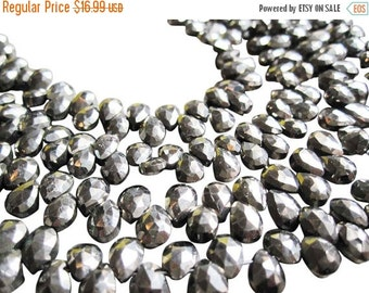 SALE Pyrite Beads, Faceted Pyrite Beads, Luxe AAA, Faceted Pear, SKU 2857