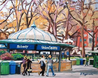 Union Square New York Art NYC  Wall Decor Print  8x10, 11x14,  New York Cityscape  Painting by Gwen Meyerson