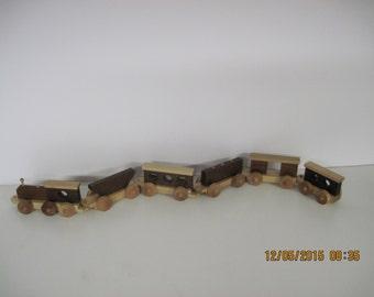 Six car wood train set