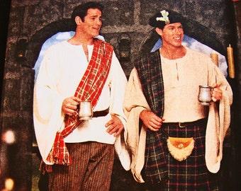 Mens Kilt Pattern UNCUT Size XS S M Simplicity Costume Pattern for Mens Celtic Shirt Pants Spats Hat Pouch Chest 30 32 34 36 38 40