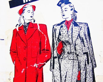 Vintage 1940s Coat Pattern Butterick Misses size 12 Womens Short Boxy Topper Coat Vintage Sewing Pattern 40s