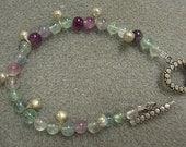 Boho Gypsy Tourmaline bracelet with sterling clasp