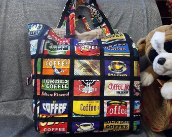 Cotton Shopping Tote Bag, Coffees Print