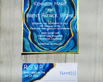 Blue & Teal Agate Wedding Invitation Suite