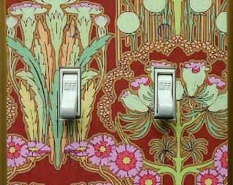 Art Nouveau double switchplates & MATCHING SCREWS- Art Nouveau switch covers Red Pinks Golds Art Nouveau wall Art Deco William Morris prints