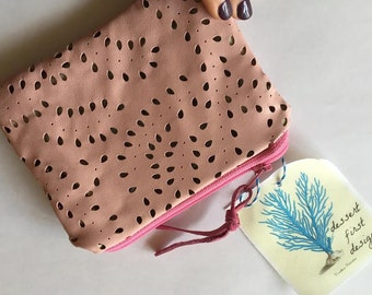 Small Pink Perforated Leather Coin Purse