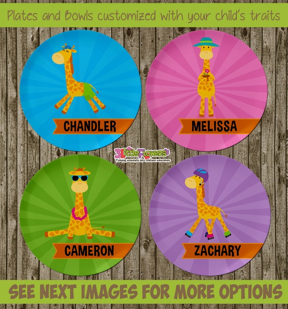 Il_570xn  sc 1 st  Catch My Party & Fun Giraffe Plate and Bowl Set - Personalized Plastic Children Plate ...