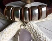 Sea Glass Leather Cuff  Sea Glass   Bezel Set   Charm