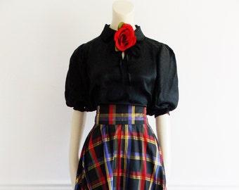 SPECIAL OFFER -vintage 1950s long taffeta skirt/ 50s plaid full skirt/ 40s WWII swing era evening maxi skirt