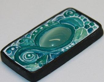 Teal Sea Green Aqua Cat Eye Rectangle Tile Polymer Clay Pendant