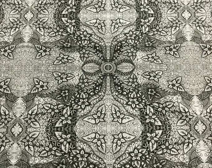 Original black and white Fabric with flowers and swirls by Cindy Watkins  cotton