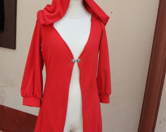 Red Cotton jersey hooded Selene Jacket size medium