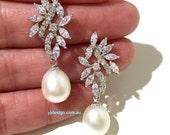 Freshwater Pearl Bridal Earrings, Cz Wedding Earrings, Vines Earrings, Woodland Wedding Jewelry, Dangle Earrings, Bridesmaid Gift, SANGRI
