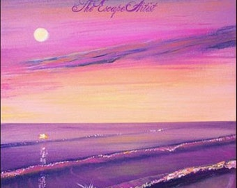 Pink and purple beach sunset painting, Moon and beach, Original colorful acrylic Painting 12x16