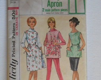 Vintage 60s Misses Easy Jiffy Apron Dress Sewing Pattern Simplicity 5763 Size Medium 14 16 Bust 34 36