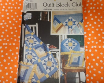 Simplicity 0161 Quilt Block Club Pattern Variable Star and Log Cabin Patterns  UNCUt