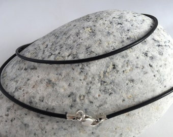 """18"""" Black Leather Cord Necklace 1.5mm, Sterling Silver Lobster Clasp, Pendant Cord Necklace"""