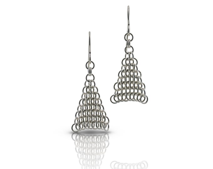 Custom Hand Woven Silver Chainmaille Mesh Earrings