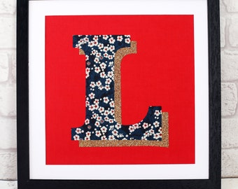 Liberty Glitter Initial Print - letter - monogram - personalised gift for girl- Liberty of London - personalized - navy blue - fabric art