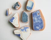 7 Blue and White Glazed Terracotta Sea Tile Shards -- Large Pendant to Charm Sizes (TL142) Mediterranean Beach Tiles, Statement tiles