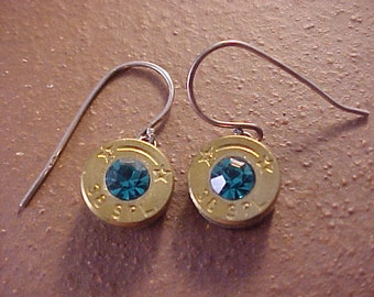 Sterling Silver Bullet Earrings 38 Special Brass Shell Swarovski Crystal