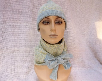 Hand Knit Wool Tweed Scarf and Pom-Pon Hat  -  Blue and Yellow Jacquard - Optical Illusion