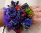 recycled silk  bohemian flower cuff  bracelet original design ooak by plumfish
