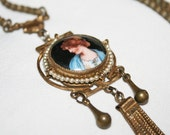 RESERVED - Tristen - Vintage Czech Necklace Cameo Porcelain Art Deco Brunette Beauty