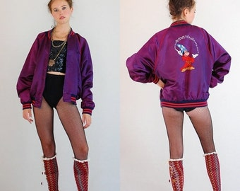 25% off every sunday sale Disney Bomber Jacket Vintage 80s Disney MICKEY MOUSE Sorcerer's Apprentice Satin Bomber Jacket (s m l)