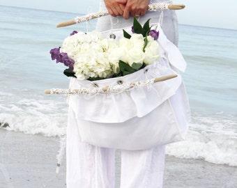romantic ruffled linen sea tote