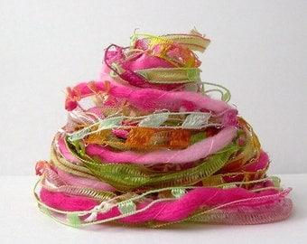 prickly pear margarita fiber effects™ 12yds specialty ribbon art yarn embellishment fiber bundle . lime green pink yarn pack