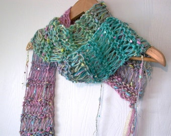 fairy wishes. enchanted handknit scarf . sparkle threads sequins pastel vegan friendly knit scarf . lightweight ethereal candy color scarf