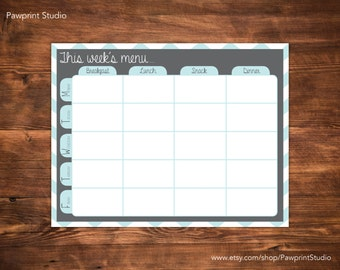 INSTANT PRINTABLE Toddler Weekly Menu Planner (Monday-Friday) - Aqua & Gray (8x10)
