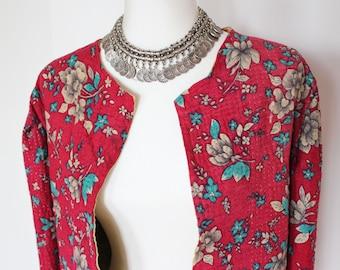Vintage Kantha Quilt Jacket - Red Floral - M