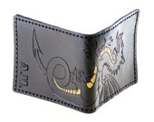Hand stitched dragon hand carved wallet with hand painted accents with initials.