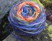 Handspun self striping yarn, handpainted yarn, wool striped worsted yarn,OOAK-Day of the Dead