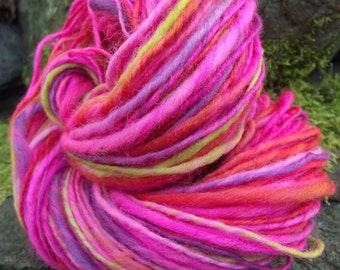 Handspun yarn, Organic Polwarth handpainted yarn, worsted thick and thin-La Cenerentola
