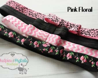 Set of 4 baby Bow Headbands or Planner Book Bands { Pink Floral } black, pink chevron, shabby chic, damask