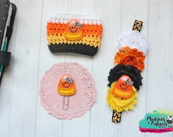 Crochet Striped Halloween Coffee Cozy { Candy Corn } yellow black orange planner band, paper planner clip cup cozie sleeve baby headband