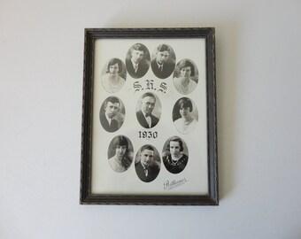 ANTIQUE framed 1930 high school CLASS PHOTOGRAPH