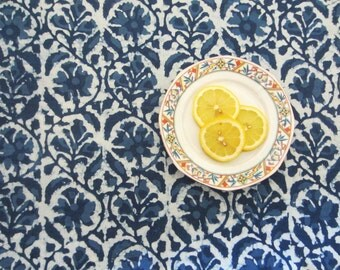 Indigo fabric from India, Batik fabric, cotton fabric, Block printed fabric, By the yard, Indigo blue fabric