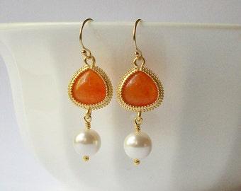 Rusty Orange and Pearl Dangle Earrings
