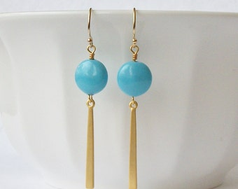 Turquoise Pearl Earrings, Bridesmaid Jewelry Gift