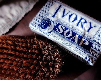 Vintage Ivory Soap & Brush Fine Art Print - Bath Decor, Nostalgic, Home, Photography, Gift, Zen, Soap, Antique, Kitchen Art, Bathroom Art