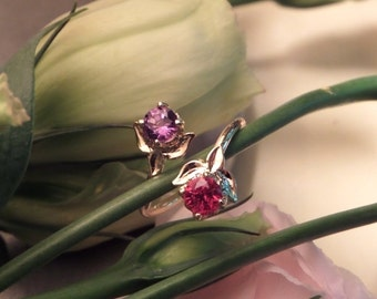 Double Lotus Wrap Ring, Natural Flame Red Spinel and Color Change Garnet 18k Yellow Gold Ring, OOAK Ring, Ready to Ship
