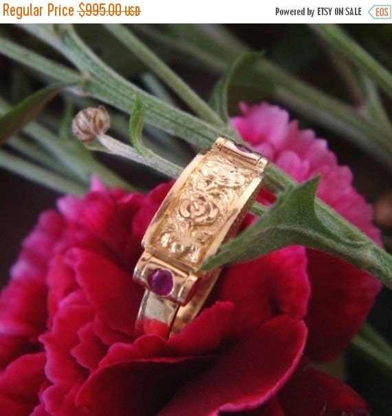 Summer Sale Rose and Ruby Saddle Ring in Solid 18k Gold, Handforged, Ready to Ship