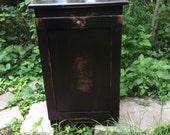 RACHEL CUSTOM ORDER Trash bin  with drawer stressed ebony