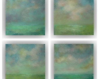 Set of 4 Abstract Landscapes- 12 x 12 Green and Blue Field Sky and Clouds Oil Paintings- Original Palette Knife Art on Canvas