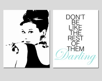 Audrey Hepburn Silhouette - Dont Be Like The Rest Of Them Darling Quote - Teen Bedroom Decor - Set of Two 11x14 Prints - CHOOSE YOUR COLORS